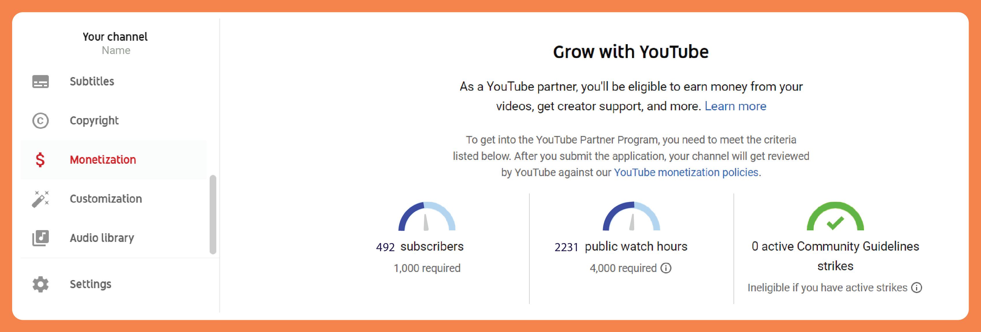 YouTube Partner Program channel homepage