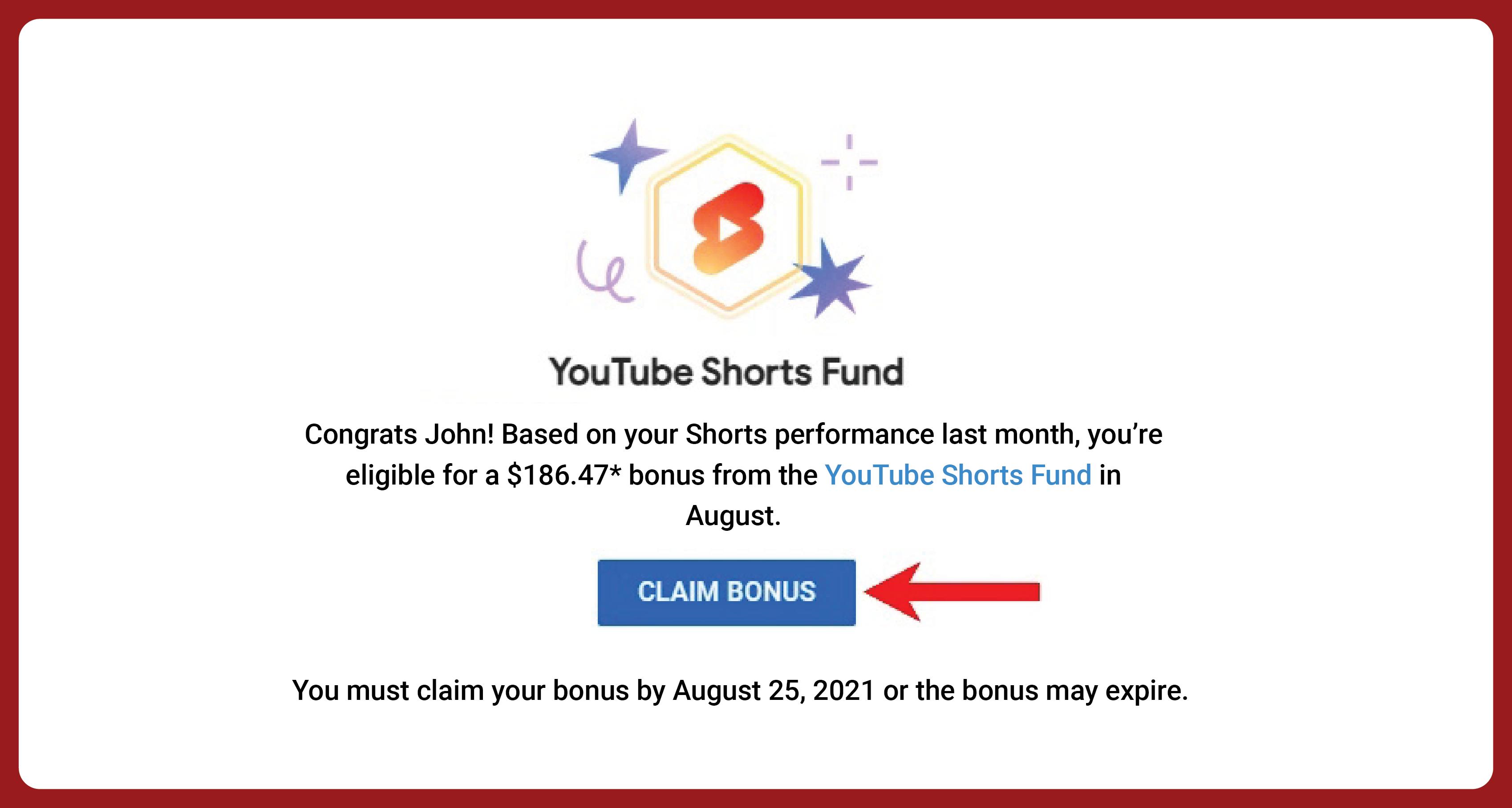 YouTube Shorts claim bonus page