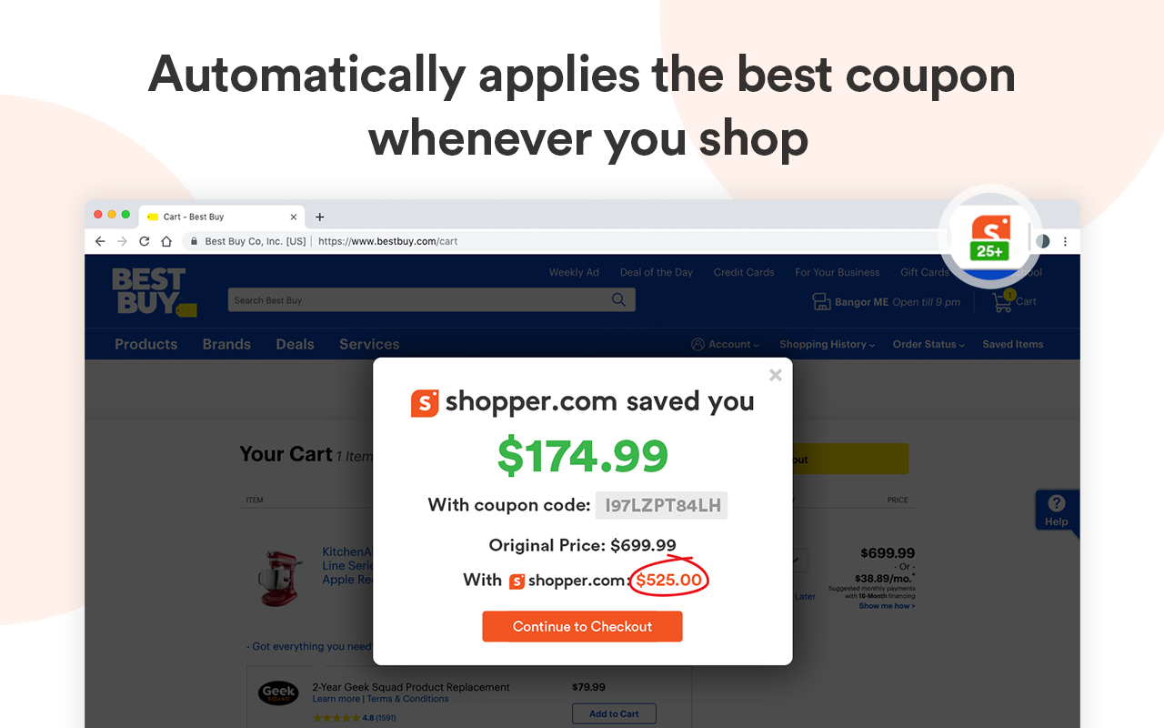 Shopper com applies the best discount codes at your checkout